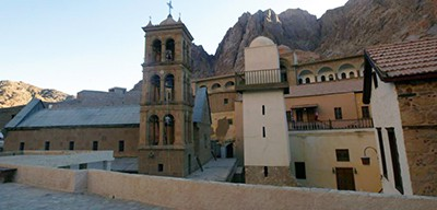 A view from inside Saint Catherine Monastery in Sinai, Egypt, where a reopening ceremony took place on December 16