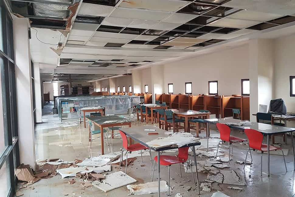 Flooding damage to a reading room at the University of Puerto Rico at Humacao. Photo by Evelyn Milagros Rodríguez