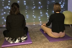 Librarians Megan Donald (left) and Emily Tichenor of Tulsa (Okla.) Community College sit in the meditation room at the West Campus Library. Photo: Tulsa (Okla.) Community College.