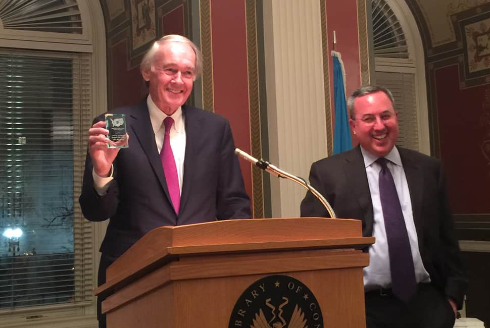 Sen. Ed Markey (D-Mass.) receives an award from the National Coalition for Technology in Education and Training on the 20th anniversary of the E-Rate program.