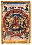 Maiestas Domini (Christ in Majesty) with the Four Evangelists and their symbols, at the start of the New Testament (fol. 796v), in the Codex Amiatinus