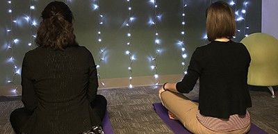 Librarians Megan Donald (left) and Emily Tichenor of Tulsa (Okla.) Community College sit in the meditation room at the West Campus Library. Photo: Tulsa (Okla.) Community College