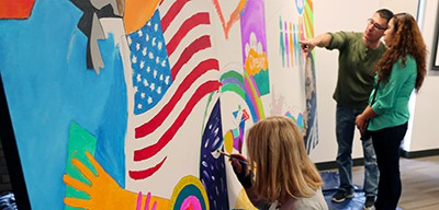 Mural painting, MLK Day, Arlington Heights (Ill.) Memorial Library