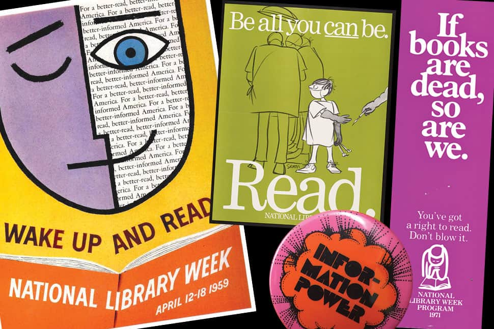 National Library Week promotional materials through the ages. Photos: ALA Archives