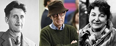 George Orwell (left), Woody Allen, and Pauline Kael: Can the work stand separate from the attitudes or actions, however objectionable or abhorrent? Photos from left: Evan Agostini / Invision; AP; AP