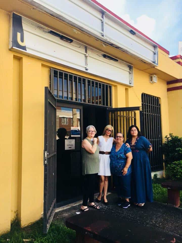 Reforma President Tess Tobin (left) and ALA President-Elect Loida Garcia-Febo visit the public library in Gurabo, Puerto Rico.