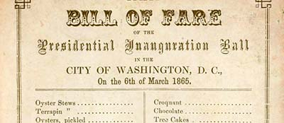 Menu from Lincoln's second inauguration, March 6, 1865