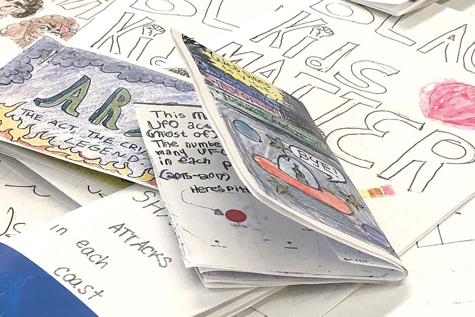 At Carnegie Library of Pittsburgh's Civic Data Zine Camp, young adults learned data literacy concepts by presenting statistical narratives and visualizations in a handmade zine format. Photo: Carnegie Library of Pittsburgh