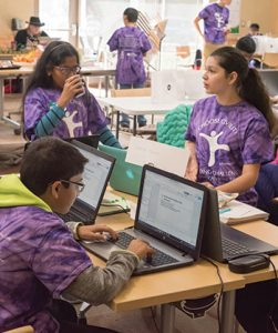 "Middle school students competing as the team ""Website Trekkies"" were challenged to create a centralized community calendar at the 2017 Civility Hackathon at Howard County (Md.) Library System. <span class=""credit"">Photo: Dennis Wood/Howard County (Md.) Library System</span>"