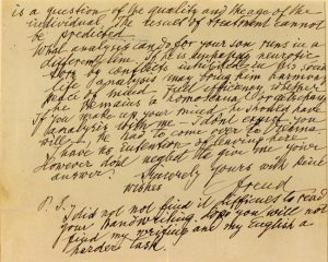 """Sigmund Freud's letter to """"an American mother,"""" detail."""