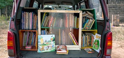 Books on display in one of the I-READ mobile libraries in Nigeria