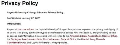 Introduction to Loyola University of Chicago Library's privacy policy