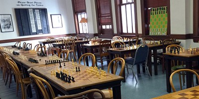 The Mechanics' Institute Library in San Francisco, founded in 1854 to serve the city's growing population in the gold rush years, housed a chess room from the start