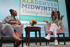 Patrisse Cullors and Marley Dias in conversation at the Opening Session of the American Library Association's Midwinter Meeting & Exhibits in Denver. Photo: Cognotes