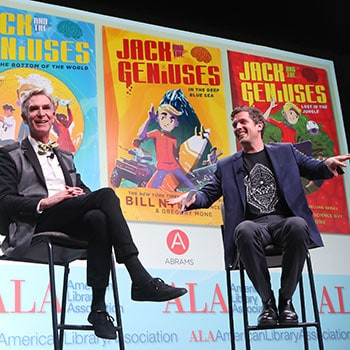 "Bill Nye and Gregory Mone at the Closing Session of the 2018 ALA Midwinter Meeting & Exhibits in Denver. <span class=""credit"">Photo: Cognotes</span>"
