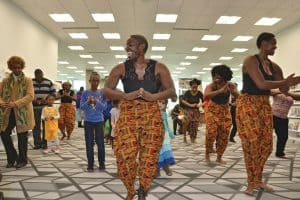 Members of an African drum and dance ensemble lead patrons in a performance routine as part of Richland Library's day-long Black History Month Fair on January 28, 2017. Photo: Richland Library