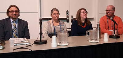 "(L-R) Joe Mocnik, Amy Brunvand, Rebekkah Smith Aldrich, and Ben Rawlins share experiences and best practices at ""Sustainability Strategies for Libraries and Communities"""