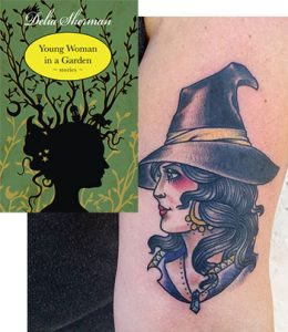 MCL paired a witch tattoo with Young Woman in a Garden, a collection of supernatural short stories by Delia Sherman.