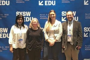 "Speakers at the SXSW EDU ""Ready to Code: Libraries Supporting CS Education"" panel (from left) Mega Subramaniam, Linda Braun, Nicky Rigg, and moderator Tim Carrigan."
