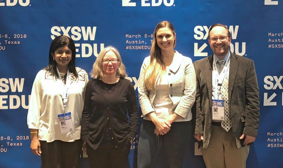 """Speakers at the SXSW EDU """"Ready to Code: Libraries Supporting CS Education"""" panel (from left) Mega Subramaniam, Linda Braun, Nicky Rigg, and moderator Tim Carrigan."""