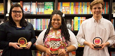Angie Thomas (center) with other Waterstones winners, Jessica Townsend and Joe Todd-Stanton