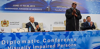 US r&b singer Stevie Wonder at the Marrakesh conference, 2013