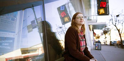 Aili Meutzner, a librarian with the Vancouver Public Library, is outside the Strathcona branch. Meutzner is disappointed with the VPL's stand forbidding staff from administering naloxone to overdosing patrons. Photo: Rafal Gerszak/The Globe and Mail