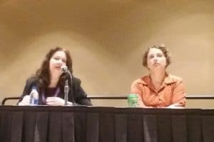 "Lisa Shaw (left) and Elizabeth Iaukea present ""Libraries Strengthening the Talent Pipeline,"" a March 23 session at the Public Library Association Conference in Philadelphia."