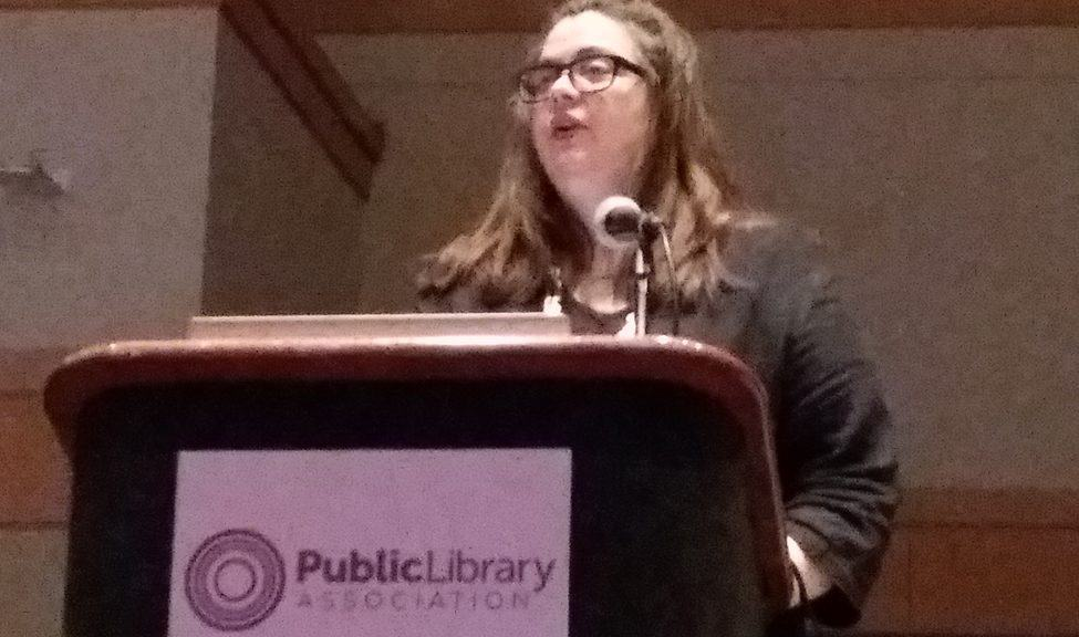 Author, marketer, and consultant Kari Chapin addresses Public Library Association conference attendees in Philadelphia, March 21, 2018.