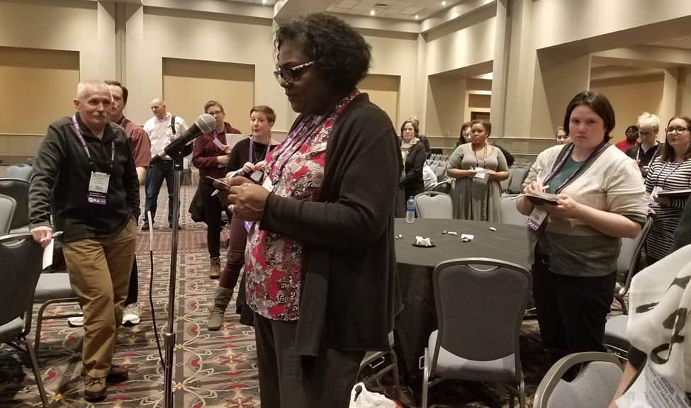 """Participants in the """"Reflecting Community: The Importance of Equity, Diversity, and Inclusion in Library Staffing"""" workshop share best practices for incorporating EDI principles into library policy."""