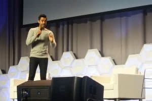 Hasan Minhaj speaks at the Closing Session of the Public Library Association Conference in Philadelphia March 24.