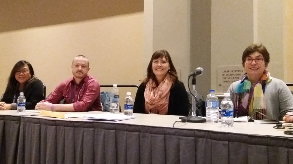 "Panelists at ""A Social Worker Walks into a Library,"" a preconference of the Public Library Association Conference in Philadelphia on March 20 (from left): Leah Esguerra, Patrick Lloyd, Elissa Hardy, and Jean Badalamenti."