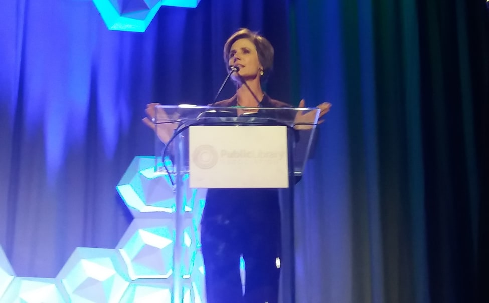 Opening Session speaker Sally Yates addresses attendees at the Public Library Association Conference in Philadelphia on March 21, 2018.