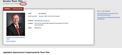 Sen. Thom Tillis Member Profile Page