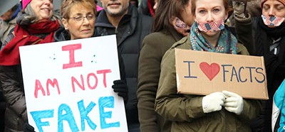 Activists show of solidarity with the press at a New York protest in February 2017. Photograph: Lopez/Zuma Wire/Rex/Shutterstock