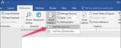 Add a citation in Microsoft Word