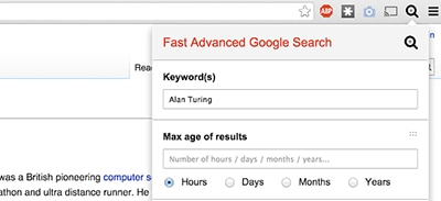 Fast Advanced Google Search Chrome extension