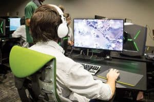 Students play videogames during the grand opening of the Nest, the e-sports facility at University of North Texas in Denton. Photo: Photo: University of North Texas