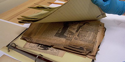 A deteriorated binder from an archival collection at the Library of Congress