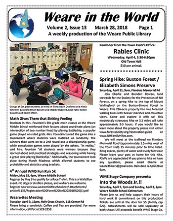 Weare Public Library's newsletter, Weare in the World
