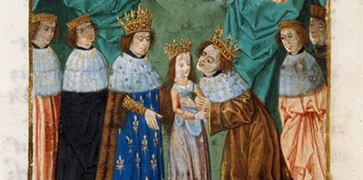 Detail of a miniature of Richard II, king of England, receiving his bride, the Princess Isabel, from her father, Charles VI, king of France, in Jean Froissart, Chroniques, Bruges, c. 1480–1494: Royal MS 14 D VI, f. 268v