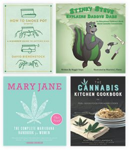 A few books that were featured at Jennifer Hendzlik's presentation on medical marijuana and libraries at the 2016 Public Library Association Conference in Denver.