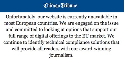 Troinc's Chicago Tribune blocked by GDPR