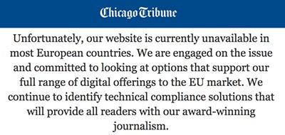 Troinc's Chicago Tribune blocked by GDPR