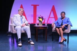 Librarian of Congress Carla Hayden and Archivist of the United States David S. Ferriero in conversation at the American Library Association (ALA) 2018 Annual Conference and Exhibition in New Orleans