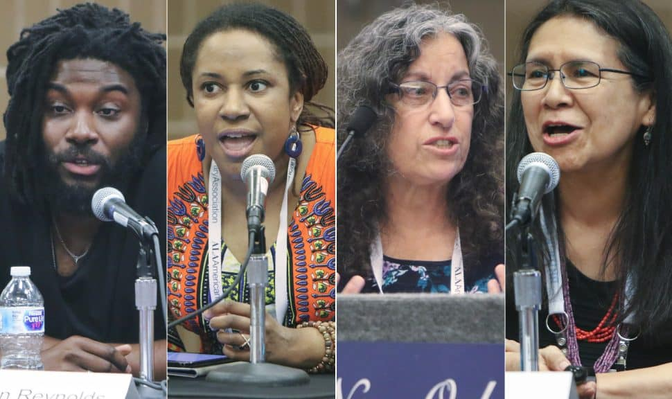 From left: panelists Jason Reynolds, Ebony Thomas, Margarita Engle, and Debbie Reese at the ALSC Charlemae Rollins President's Program at the 2018 ALA Annual Conference in New Orleans on June 25.