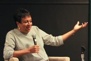 Librarian of Congress Carla Hayden speaks with former ALA President Courtney Young on June 23.