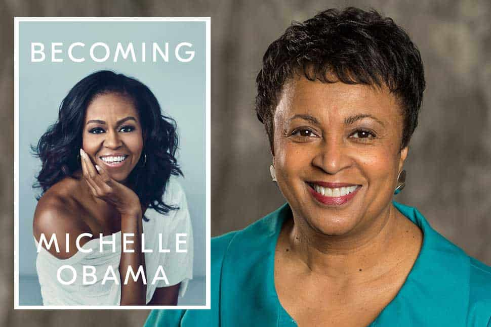 Cover of Michelle Obama's memoir Becoming (inset) and Librarian of Congress Carla Hayden