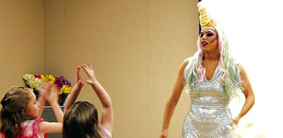 Flo Leeta, a Buffalo-based drag queen, at the Olean (N.Y.) Public Library on June 20