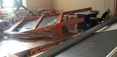 Damage at the Biblioteca Francisco Oller, an academic library that is part of La Escuela de Artes y Diseño de Puerto Rico in San Juan